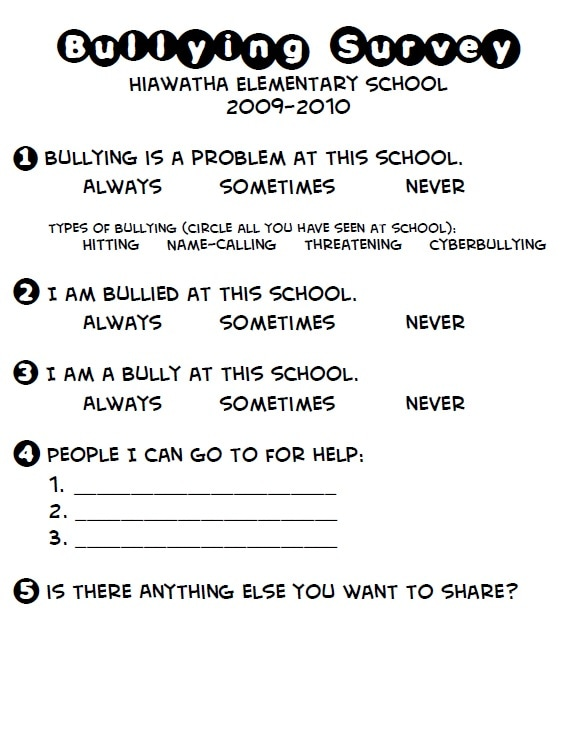 Bullying Elementary School Counseling – Cyber Bullying Worksheets