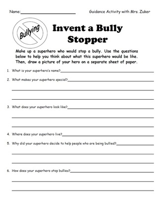Worksheet Bullying Worksheet ce dignity elementary school counseling picture